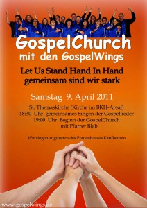 Flyer zur Gospelchurch mit den Gospelwings in Kaufbeuren