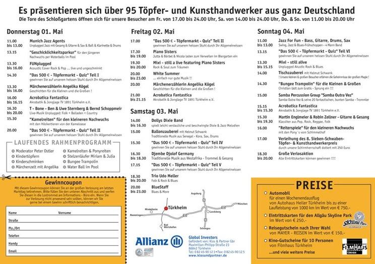 Töpfermarkt - Programm 2014